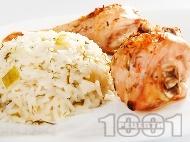 Тиквички с ориз и копър за гарнитура на пиле и риба